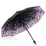 DORRISO Mode Femme Parapluie Pliant Mini Parapluie Résistant Vent Compact Portable Ombrelle Léger Voyage étanche de Petit Parapluie Fleur De Papillon