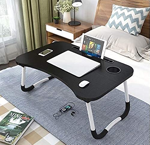 HR Creation Foldable Bed Study Table Portable Multifunction Laptop Table Lapdesk for Children Bed Foldabe Table Work Office Home with Tablet Slot Cup Holder Bed Study Table Brushed Black