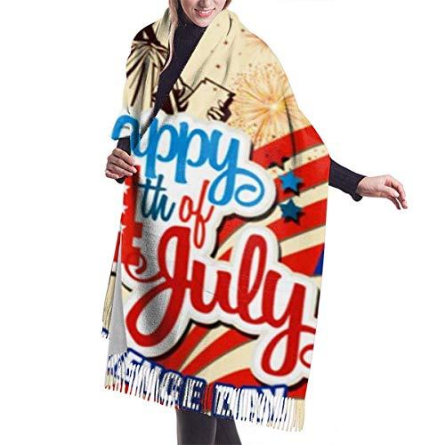 Cuatro de julio Día de la Independencia Estatua de Li-Ber-TY Bufanda de cachemira Primavera ligera Bufandas suaves de invierno Chal con flecos Abrigo