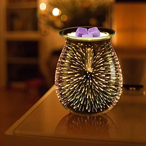 Mobestech 3D Glass Electric Wax Warmer 3D Fireworks Wax Melts Tart Burner Aromatic Night Light for Home Bedroom Living Room Office Decor Gifts