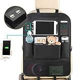 MEIZI Rückenlehnenschutz Auto, Rückenlehnenschutz Mit 4 USB Kinder Rückenlehnentasche Auto Rücksitzschoner, Autositz Rückenlehnen Organizer Transparenter Tasche für Tablet (1 Piece/Mit USB)