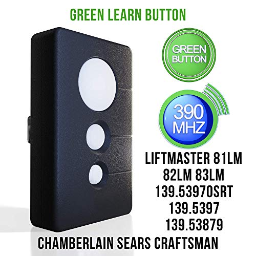 Replacement for Sears Craftsman Garage Door Opener remote transmitter K1026 HBW1136 139.53970SRT 139.5397 139.53879 Chamberlain LiftMaster Compatible Program  390 MHZ Green Learn 3 Button