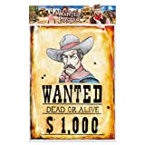 Amakando Cowboy-Poster Wanted Dead or Alive / 38x50cm /