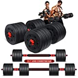 MOVTOTOP Adjustable Dumbbells Set- 15/25/40/50/66/80/90/110lbs Dumbbells Barbell Weight Set with Connecting Rod& Non Slip Design Adjustable Weights Dumbbells Set Pair for Men and Women, Home Gym