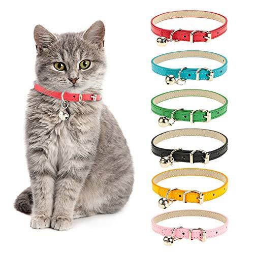 Thursday - Collar de Piel para Mascotas y Gatos, con Campana extraíble, Resistente, Suave y Ajustable, para Perros pequeños y medianos (6 Unidades)