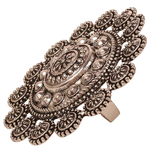 Touchstone New Indian Bollywood Royal Rajwada Magical Look Cut Work Turkish Touch Tribal Boho Round Shape Wedding Adjustable Designer Jewelry Cocktail Finger Ring in Oxidized Silver Tone for Women.