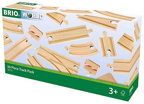 BRIO World 33772 Großes Schienensortiment 50 Teile – Schienen Set für die BRIO Eisenbahn – Kleinkindspielzeug empfohlen für Kinder ab 3 Jahren