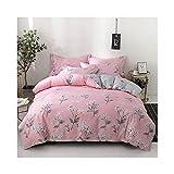 AMDXD Juego de sábanas de algodón con 4 fundas de almohada, funda de edredón y funda de almohada (1 funda de edredón de 220 x 240 cm, 1 sábana de 230 x 245 cm, 2 fundas de almohada de 48 x 74 cm)