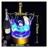 LEDアイスバケツ再充電可能な色の変更ワインクーラークラウンシャンパンワインホルダー飲み物ビールワインラックバー/ウェディング/ホームパーティー クーラー (Color : S 26.5X27cm)