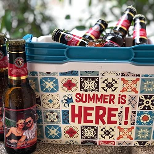 Cervezas Personalizadas con Nevera y Abrebotellas, 6 botellines de cerveza con foto para regalar, eventos, bodas, cumpleaños, aniversario, Pack Verano, Uvimark