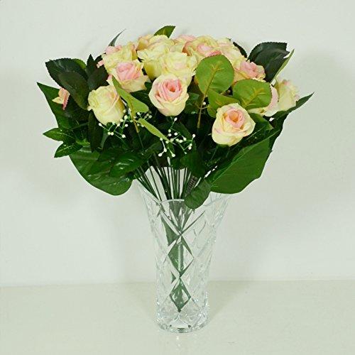 Bouquet de 24 Roses Artificielle Jaune - Cimetiere Decoration Maison - 743