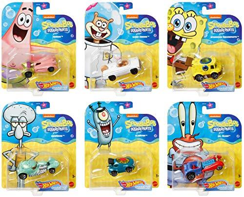 Underwater Wheels Spongebob Character Squarepants 6-Pack Car Bundle + Spongebob Yellow Bubble Van / Patrick Star / Squidward / Mr. Krabs / Plankton / Sandy Cheeks Racer Die-Cast 6 Items Bundle