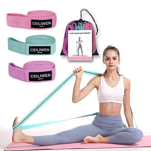 【2021 Nuevo】 Bandas de Resistencia, CEILIWEN (3 Juegos) Bandas Elásticas Fitness de Tela 3 Niveles, Bandas Largas de Resistencia Cintas Elasticas de Tela para Yoga, Pilates, Fitness