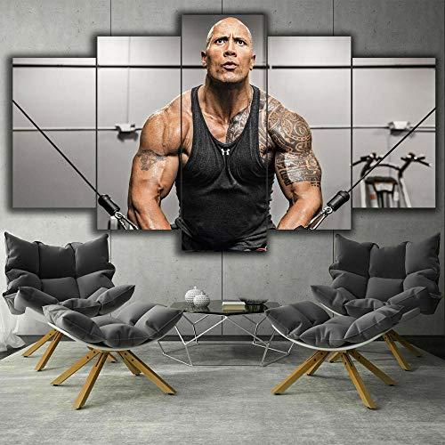 XIAYUU Rock Dwayne Johnson Fitness Decoración De Pared 5 Piezas Impresión En Lienzo HD Cuadro De Pintura Póster De Arte Moderno Marco,Sala De Estar Decoración del Hogar(150 x 80 CM) ⭐