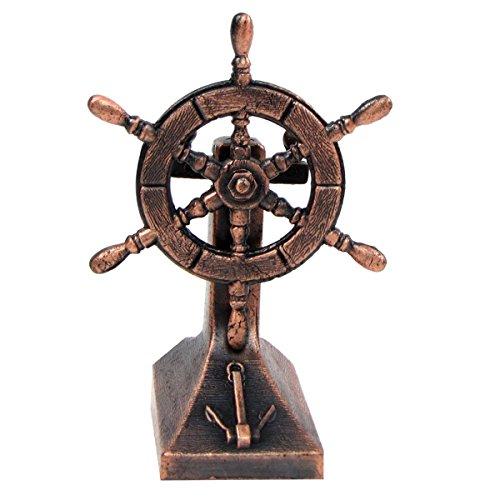 TG,LLC Treasure Gurus Bronze Metal Ships Helm Ship Wheel Miniature Replica Die Cast Pencil Sharpener