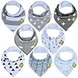 8-Pack Stylish and Cute Bandana Bibs - Specially handpicked versatile and unisex designs ensure that your baby never runs out of styling options. Neutral colors make clothing coordination easier and fuss-free for parents! Adding more fun to your baby...