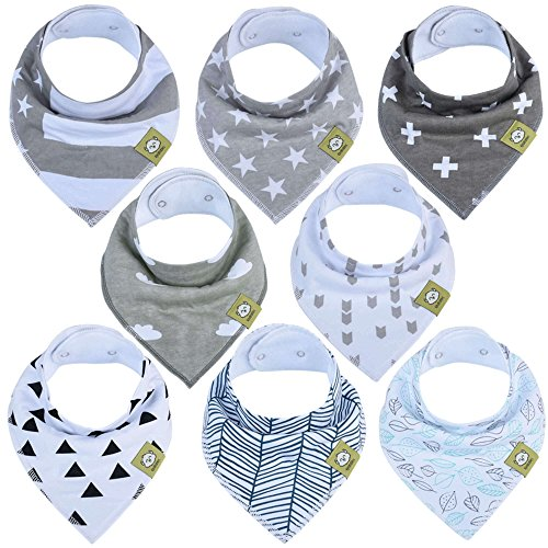 Organic Baby Bandana Drool Bibs - Bandana Bibs for Boys, Girls by KeaBabies- Super Absorbent Bandana Drool Bibs - Teething Bibs - Organic Cotton Baby Bibs for Infant, Toddler - 8 Pack (Grayscape)