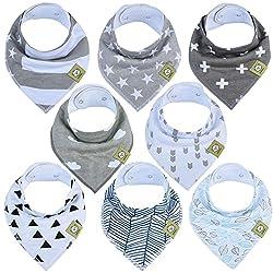 Cloud 9 Organic Bib Set  Scarf Bib  Dribble Bib  Bandana  Toddler  Blue Baby Bibs GOTS Certified Organic Cotton Fabric front /& Back