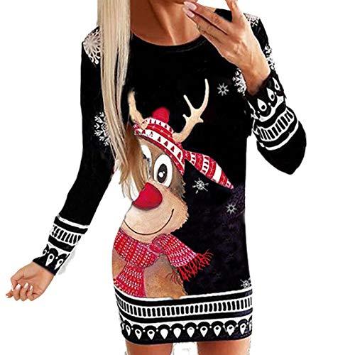 SOMESUN Winterkleider Damen Minikleid Weihnachtsdruck Winter Cocktailkleider Langarm...