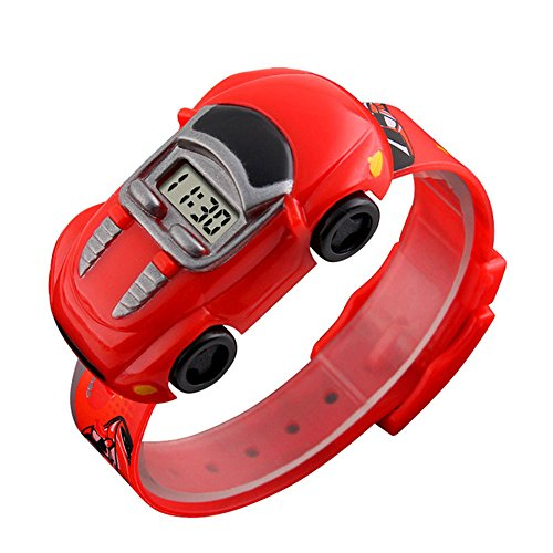 Fenghong Cars Watch Toy, Watch Car Funny Plastic Pu Giocattolo elettronico per Bambini Rosso