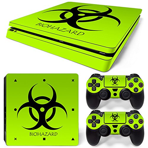 Sony PS4 Playstation 4 Slim Skin Design Foils Aufkleber Schutzfolie Set - Biohazard Motiv