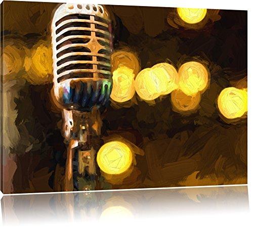Mikrofon Rockabilly Retro, Leinwandbild, Kunstdruck, Keilrahmen, Motive, Poster, Format:100x70 cm