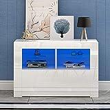 Meuble TV LED en MDF avec 5 Compartiments de Stockage sur Salle de Séjour, Salon et Chambre à Coucher, 100 x 35 x 65 cm (Blanc)
