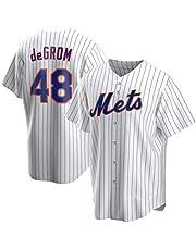 DWQ Mets # 48 Degrojo Versión de Ventilador Bordado Jersey de béisbol, Unisex Deportes Uniforme Jersey Camisa Camisa Cardigan Camisa Juego Uniforme de Equipo (S-3XL)