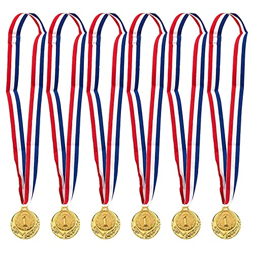 Juvale Gold Medals for Kids, Metal Awards for Sports Party Favors, Decorations (2 in, 6 Pack)