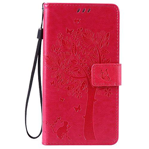 Nancen Compatible with Handyhülle Huawei Honor 5X / Huawei GR5 Flip Schutzhülle Zubehör Lederhülle mit Silikon Back Cover PU Leder Handytasche im Bookstyle Stand Funktion Kartenfächer