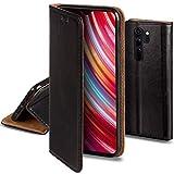 Moozy Lederhülle für Xiaomi Redmi Note 8 Pro, Schwarz - Ledertasche, Echt Leder Hülle mit Kartensteckplätze, Kartenfach & Standfunktion