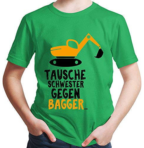 HARIZ Jungen T-Shirt Tausche Schwester Gegen Bagger Bagger Kinder Baga Kleinkind Inkl. Geschenk Karte Grün 128/7-8 Jahre