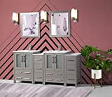 Vanity Art 72 Inch Double Sink Bathroom Vanity Combo Set 2 Side Cabinets 2 Shelves 10 Dove-Tailed Drawers Ceramic Top Bathroom Cabinet with Free Mirror VA3024-72-G