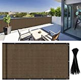 DearHouse Balcony Privacy Screen Cover, 3.5ft x16.5ft Privacy Screen Balcony Shield for Porch Deck Outdoor Backyard Patio Balconys, Includes 35 pc Cable Ties