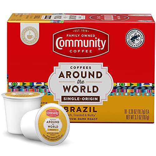 Community Coffee Single Origin Brazil 10 count Coffee Pods, Medium-Dark Roast, Coffees Around the World, Box of 10 Pods