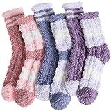EBMORE Damen Kuschelsocken Warme Haussocken Flauschige Wintersocken Dicke Socken Geschenke Bettsocken Weihnachtssocken 6 Paar(Mix gestreift B(6 Paar))