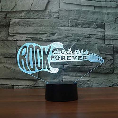Luz nocturna 3D creativa visión 3D LED colorido degradado rock guitarra eléctrica lámpara de mesa lámpara USB bebé sueño