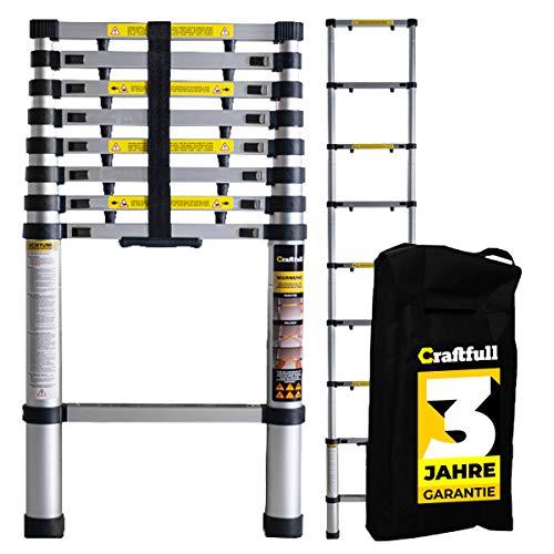 Craftfull Aluminium Teleskopleiter inkl. Tragetasche - 3 Jahre Garantie - in 2/2,6/2,9/3,2/3,8/4,1/4,4 Meter - Mehrzweckleiter - Stehleiter - Aluminiumleiter - Leiter - Aluleiter (2 Meter)