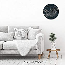 PUYANG Wall Clock 12 Inch Vintage Style, Silhouette of Whale in Doodle Style with Coral Reef and Seaw Design Quiet Non-Ticking Round Home Decoration Wall Clock