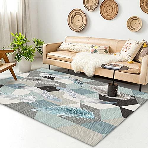 Xiaosua alfombras Online Azul Alfombra de Estar Alfombra Azul Plumas geométricas Modernas alfombras duraderas se Pueden Lavar Alfombra Cuarto 140X200CM Dormitorio Juvenil 4ft 7.1