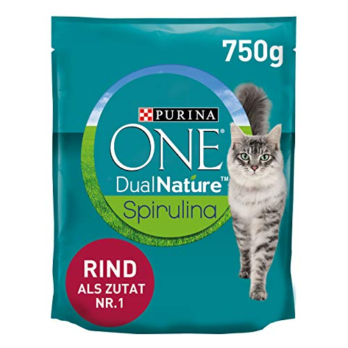 PURINA ONE Dual Nature Katzenfutter trocken für sterilisierte Katzen mit Spirulina, reich an Rind, 750g