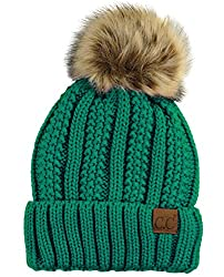 top 10 most valuable beanies CC Chunky Knit Faux Fur Drawstring, Fleece Pompon, Skull Cuff Hat, Navy Blue