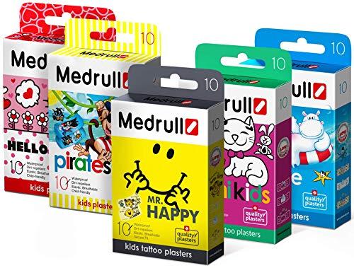 Medrull Pflaster für Kinder Set 5 x10 Stück Mr HAPPY Hello KITTY - Piraten - Baby Kids - Marine