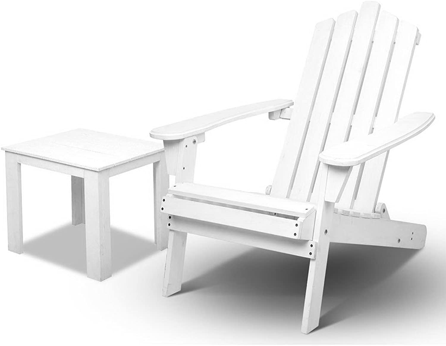 Gardeon 2PC Outdoor Chair Adirondack Foldable Chair with Wooden Table for Garden Beach Yard Patio