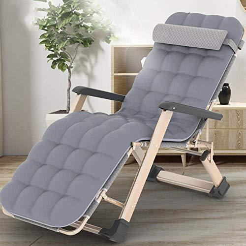 QTWW Liegestühle, Hochleistungs-Klappstuhl ohne Schwerkraft, Garten-Sonnenliege mit Verstellbarer Rückenlehne - Grau + Perlwattepad