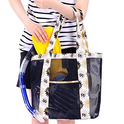 Fletion donne da ragazza Fashion Large mesh Beach Tote borse a tracolla da viaggio vacanza viaggio all' aperto Borsa da spiaggia borse borse di stoccaggio, Tessuto, Orange, 35 * 35 * 12