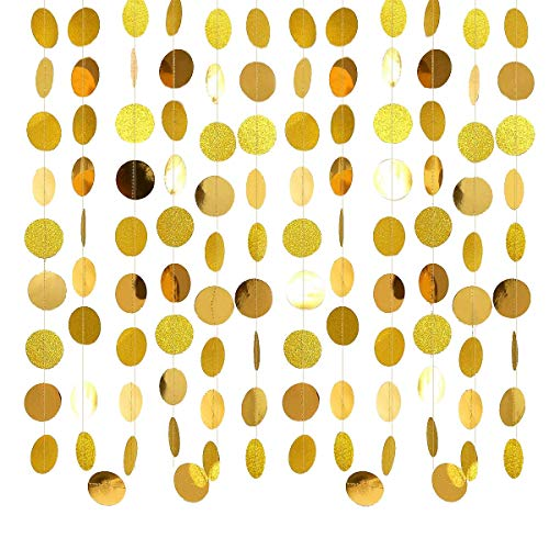 Nrpfell Gold Circle Dots Garland Party Decorations Streamers Hanging Decor Backdrop Bunting for Wedding/Baby Shower/New Year