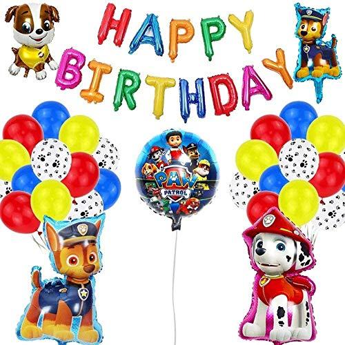 WENTS Paw Patrol Geburtstag Dekoration Set Happy Birthday Deko Bunte Luftballon Paw Patrol für jeden Alter