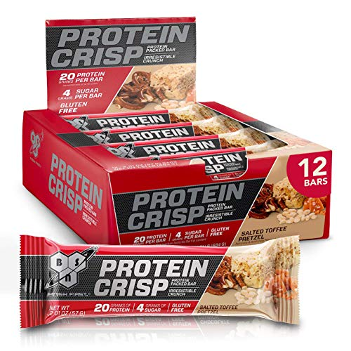 BSN Protein Crisp Bar by Syntha-6, Low Sugar Whey Protein Bar, Salted Toffee Pretzel, 12 Count
