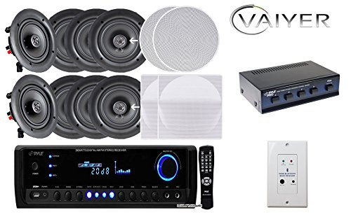Vaiyerkits Home Audio Package - Includes: (8) 150W 5.25' in-Wall/in-Ceiling White Speakers (1) 300W Digital Stereo Receiver (1) Remote (1) 4 Channel Speaker Selector & (1) in-Wall Bluetooth Receiver